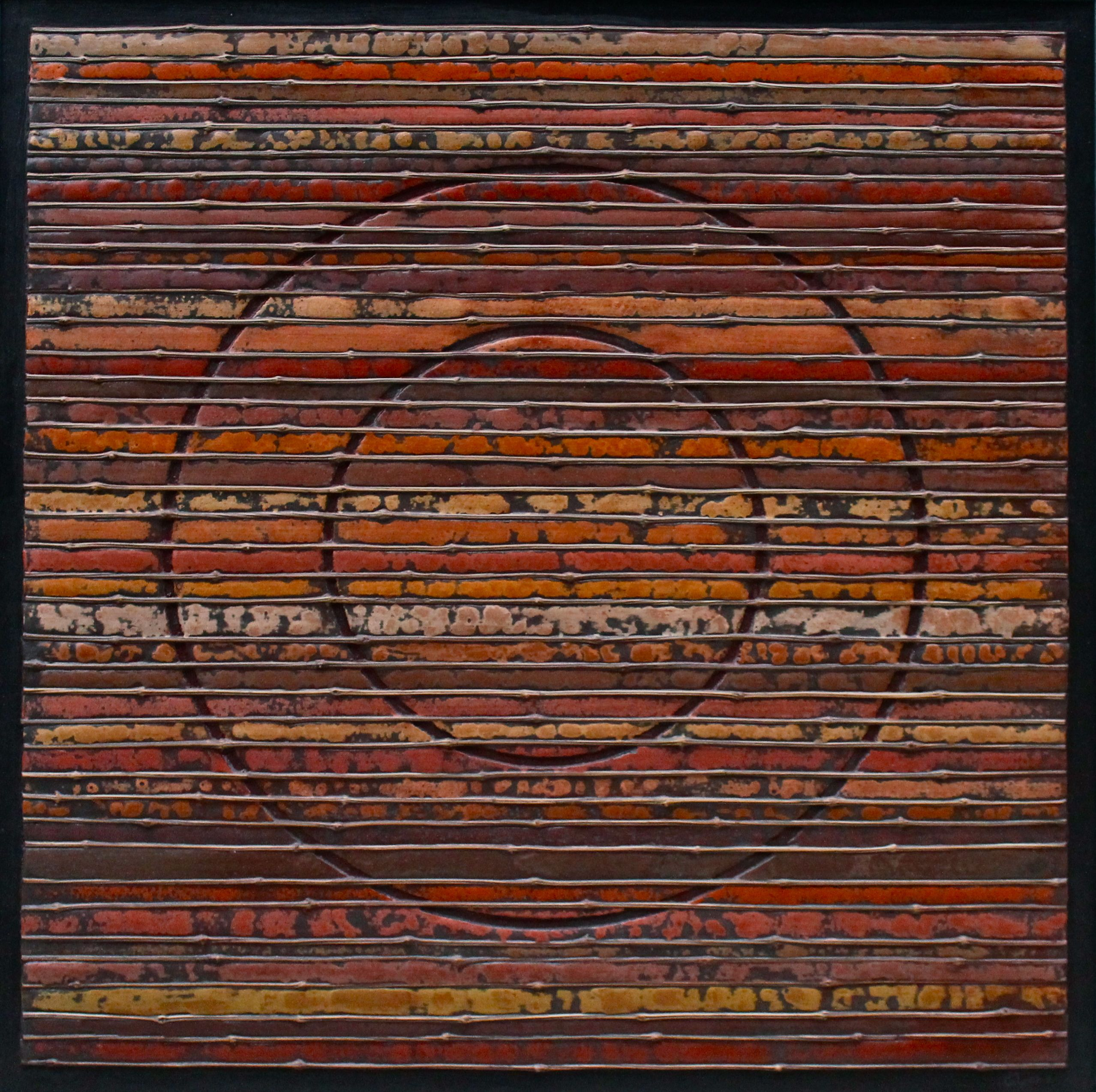 """Stefano Maraner """"The circle, the time."""" mixed media/wood on table 2015"""