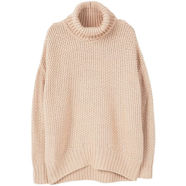 MANGO Oversize Sweater (¥7,775) ❤ liked on Polyvore featuring tops, sweaters, shirts, outerwear, thick cable knit sweater, thick sweaters, pink shirts, oversized shirt and oversized cable knit sweater