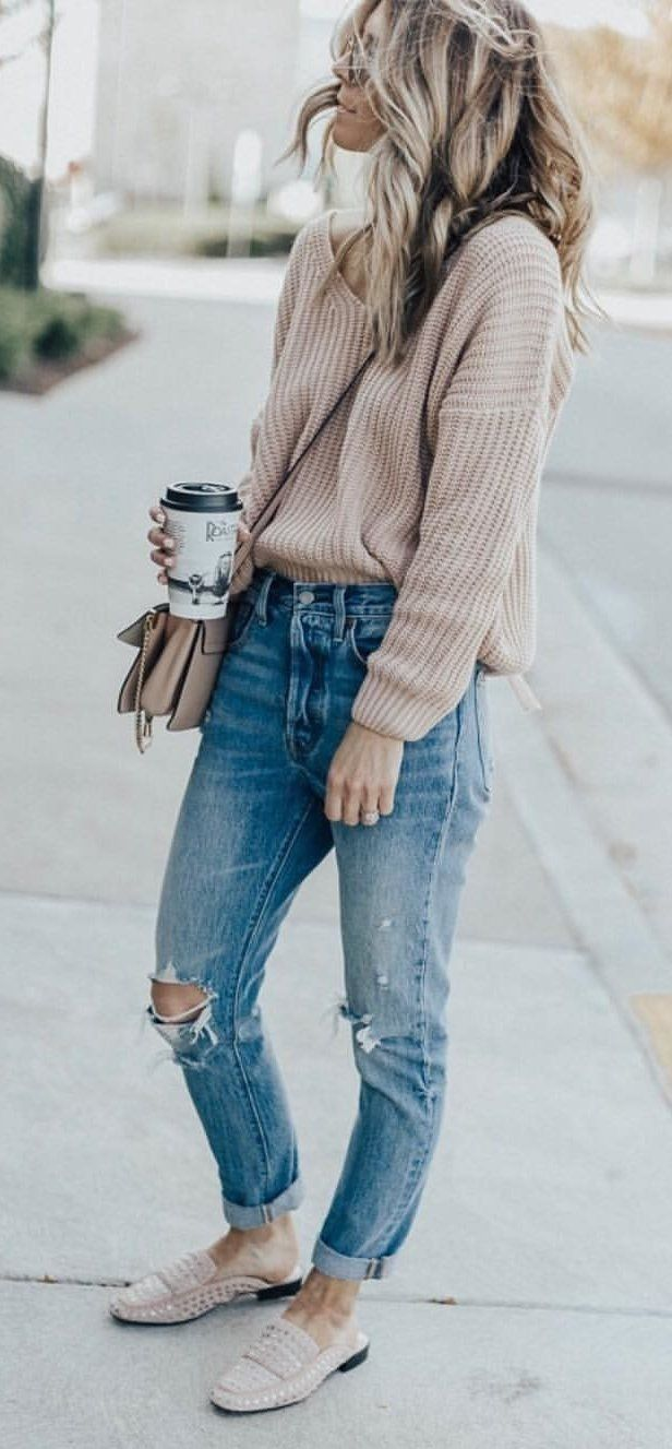boyfriend jeans outfit winter style casual fashion