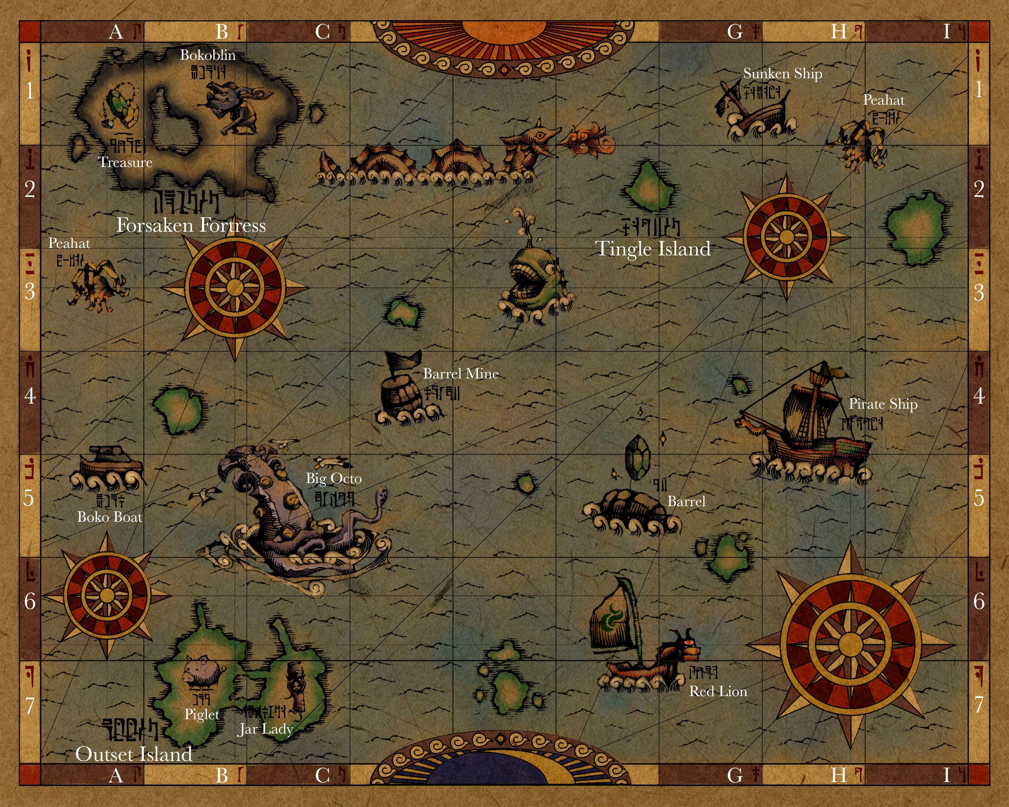 GlitterBerri's Game Translations » Part 1: Mysterious Maps (Zelda on the wind waker hd map, wind waker sea map, zelda wind waker map tower, zelda wind waker hd review,