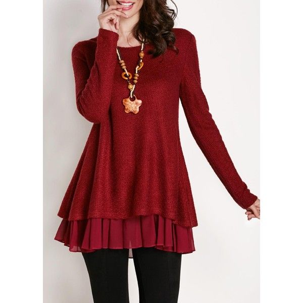 Bowknot Embellished Wine Red Long Sleeve Blouse (€27) ❤ liked on Polyvore featuring tops, blouses, wine red, print blouse, long sleeve red blouse, chiffon tops, red long sleeve top and embellished blouse