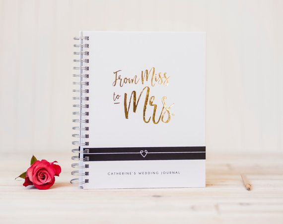 Wedding Planner Book Gold Foil Miss To Mrs Journal Engagement Personalized Planning Gift Binder