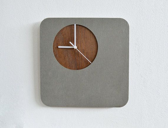 Custom Made Wooden Clocks | Concrete Wall Clock With Wooden Hole - Modern Wall Clock