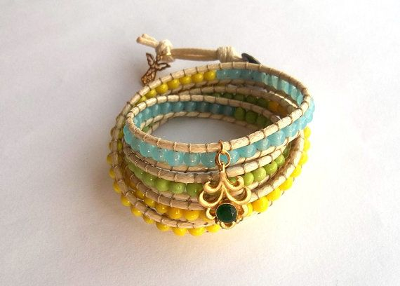 Wrap Leather Bracelet  Halloween Jewelry Autumn by GULDENTAKI, $40.00