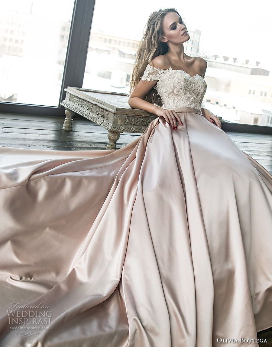Olivia bottega wedding dresses satin skirt chapel train and