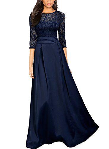 d1b13ee70d7b3e MIUSOL Damen Vintage Spitzenkleider Hochzeit Elegant Brautjungfer  Abendkleider Dunkelblau Gr.L