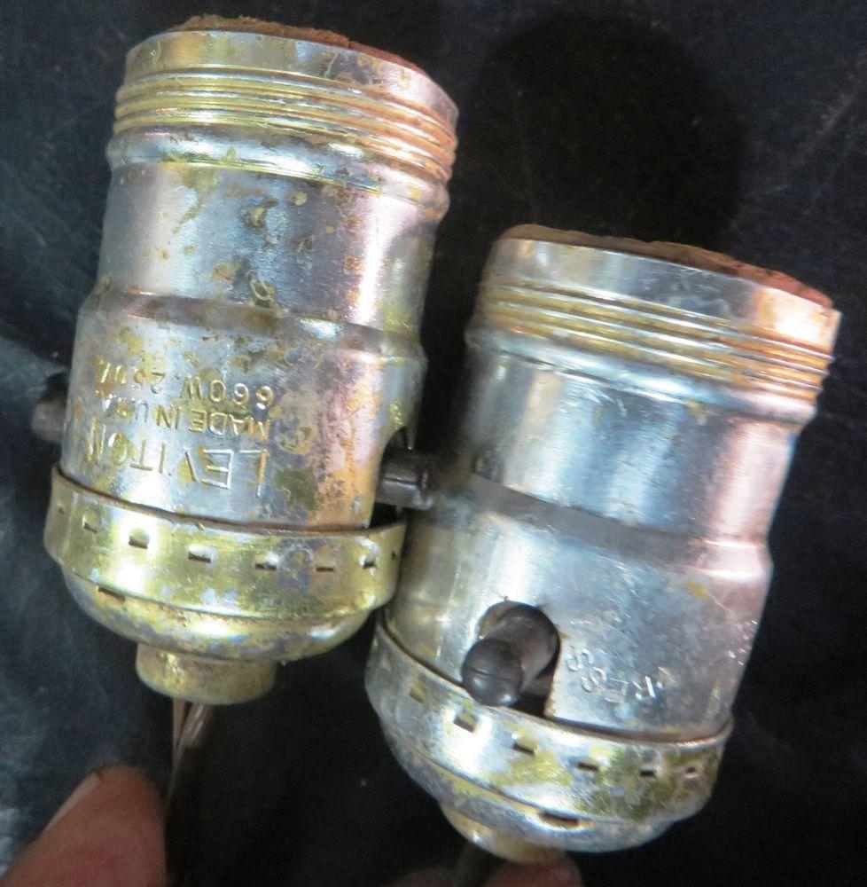 Leviton Brand Push Thru Socket Made In Usa 1 Pair Lamp Holder Original Wire Lamp Parts Antique Tools Lamp Holder