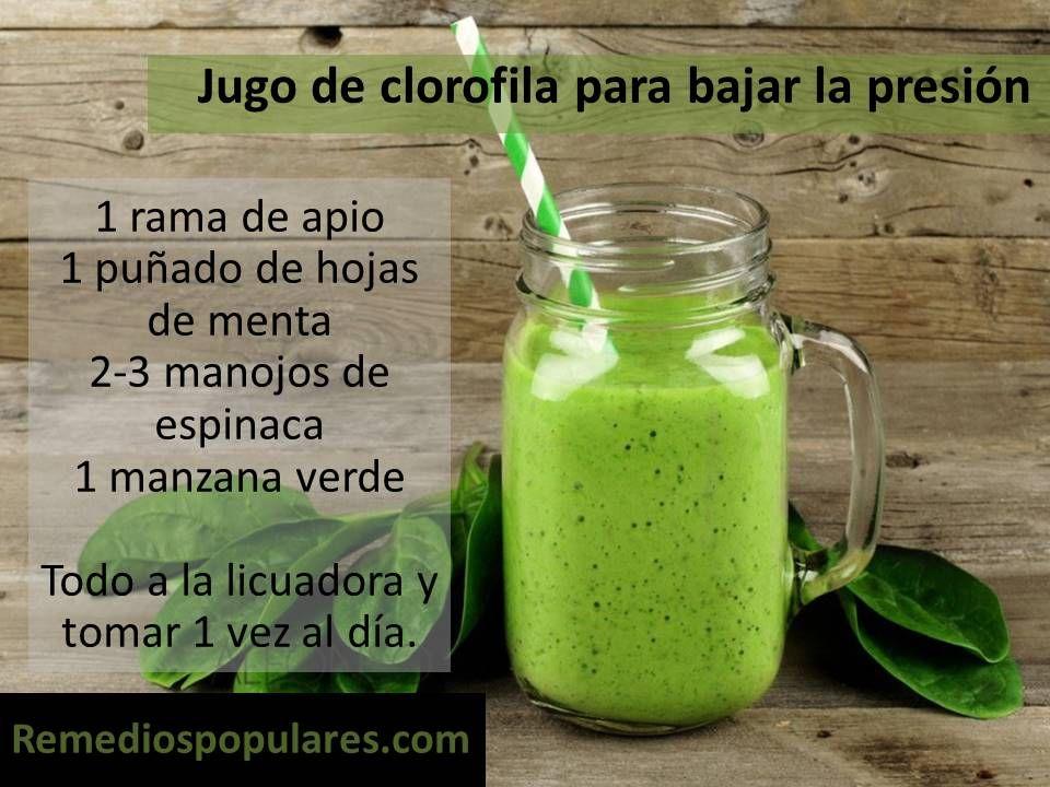 Jugo verde para bajar la presión arterial  http://www.remediospopulares.com/hipertension.html http://www.remediospopulares.com/bebidas-hipertension.html