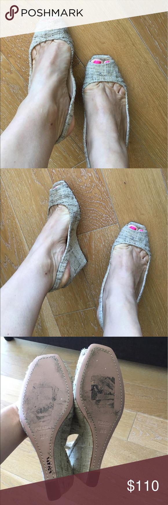 Prada peep toe wedge sling back sandals Beige/brown fabric upper, sling backs with 3.5 inch wedge heel. Size 38.5. Made in Italy. Prada Shoes Sandals