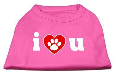 MiragePet Dog Puppy Pet I Love U Screen Print Shirt Dress Costume Bright Pink Large Size - 14