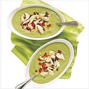 Avocado Buttermilk Soup With Crab Salad Recipe Stuffed Avocado Healthy Healthy Soup Recipes Soup Recipes