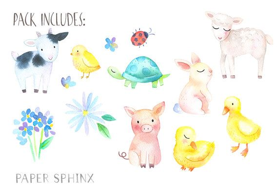Baby Animals Watercolor Clipart Springtime Farm Animals Baby