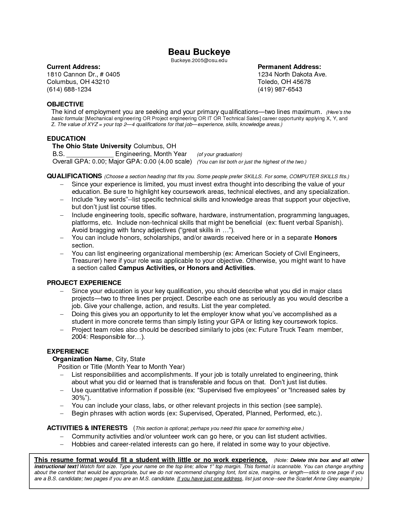 resume format without experience
