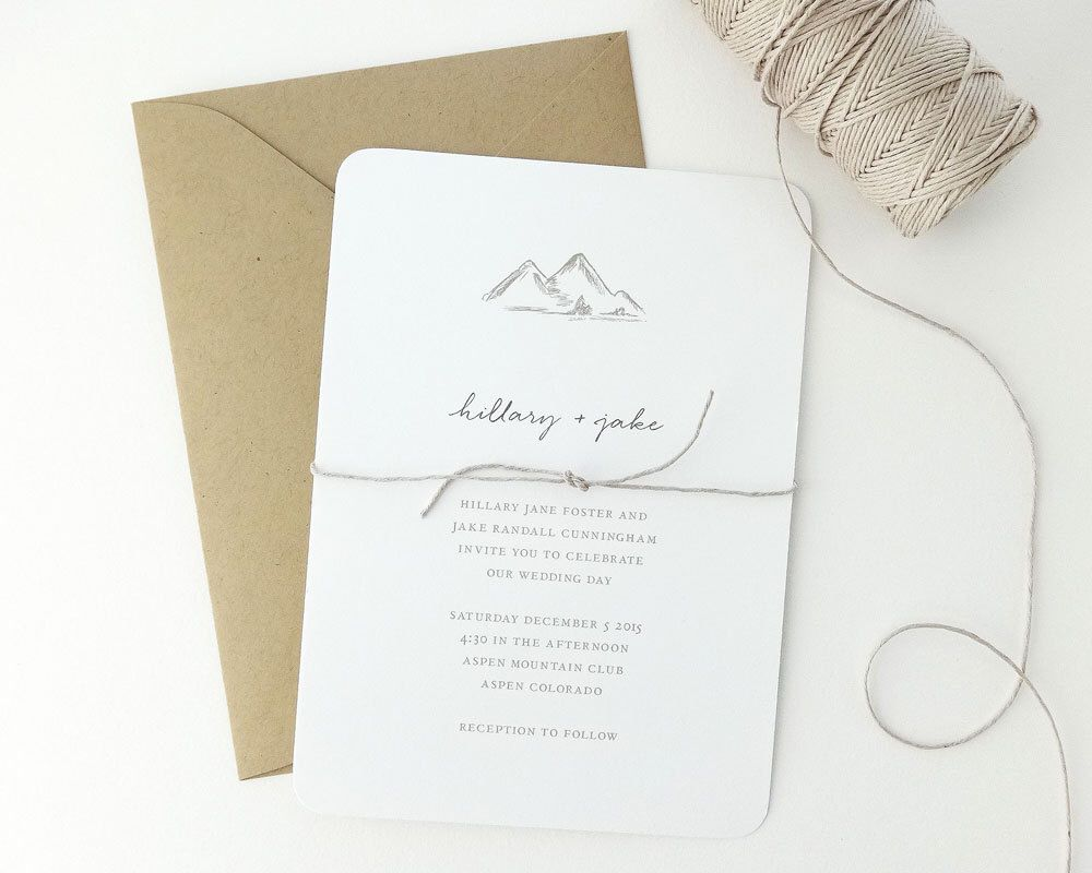 Mountains Sample Simple Classic Illustrated Wedding Invitation