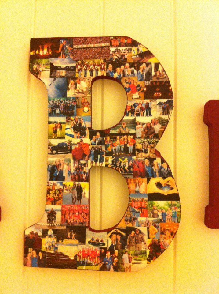 collage photo wooden letter kind of tedious but worth it get sticker paper from michaels print out pictures and stick on a wooden letter simple as that