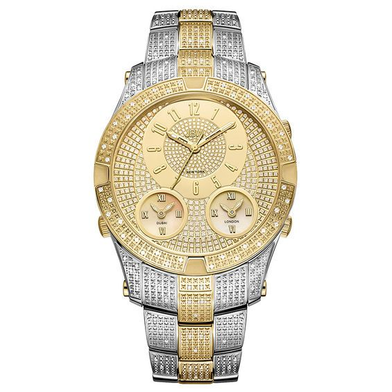 Men S Jbw Jet Setter Iii 1 1 5 Ct T W Diamond 18k Gold Plate Two