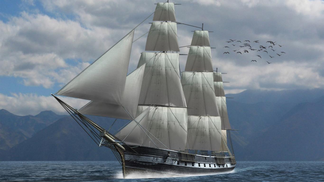 Sailing Ship Skyline 4K HD Desktop Wallpaper for 4K Ultra