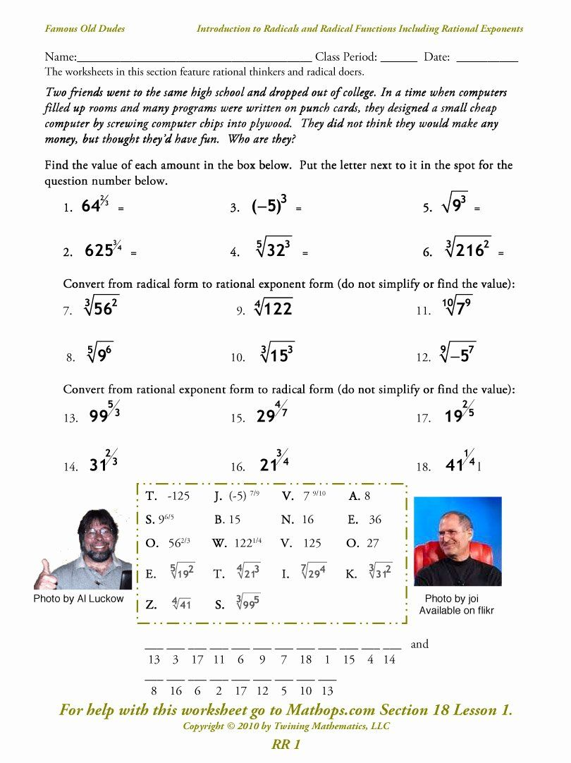 Radical And Rational Exponents Worksheet Inspirational Rr 1 Introduction To Radicals A In 2020 Exponent Worksheets Simplifying Radical Expressions Chemistry Worksheets