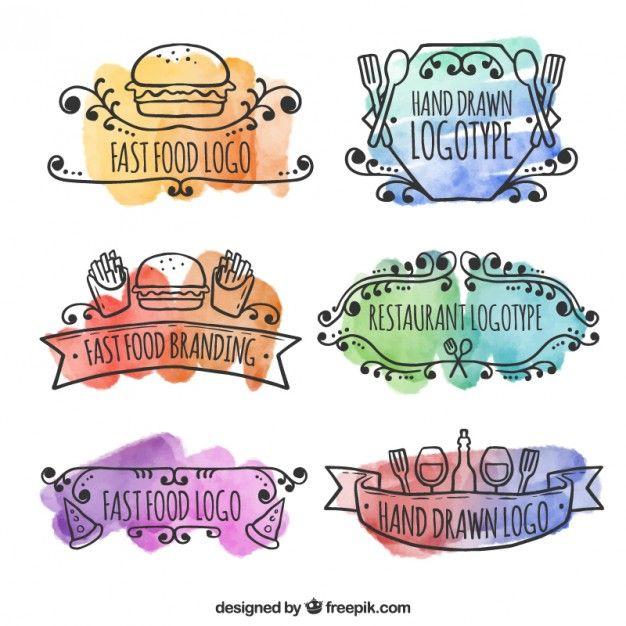 Watercolor Hand Drawn Restaurant Logos Free Vector Ld Watercolor