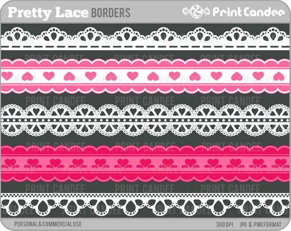 Pretty Lace Ribbons Personal And Commercial Use Digital Clipart Border Ribbon Clip Art Clip Art Borders Sticker Paper Crafts Printable Designs