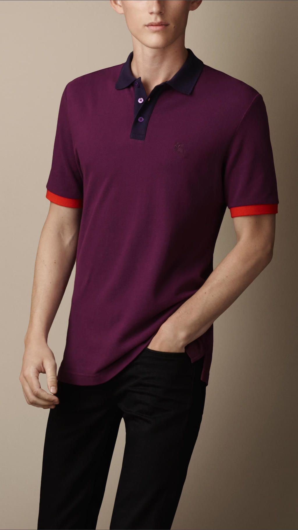 26d1f7025 Burberry - Purple Colour Block Polo Shirt | Projects | Polo Shirt ...