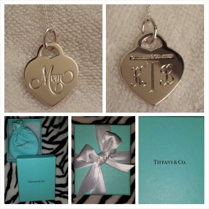 Tiffany engraved mom necklace with baby 39 s initials for New mom jewelry tiffany