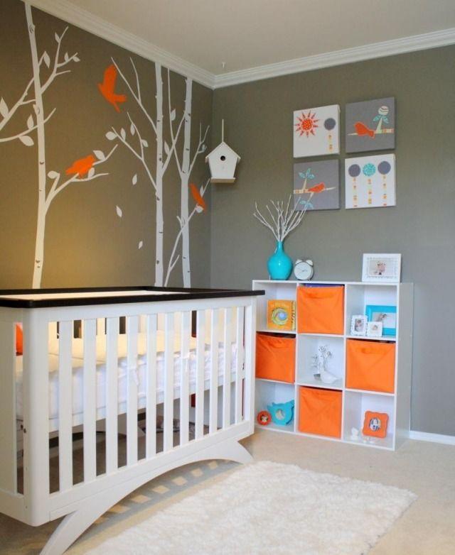 Fantastisch Babyzimmer Gestalten Neutral Graue Wandfarbe Wandgestaltung Bäume Vögel  Aqua Orange