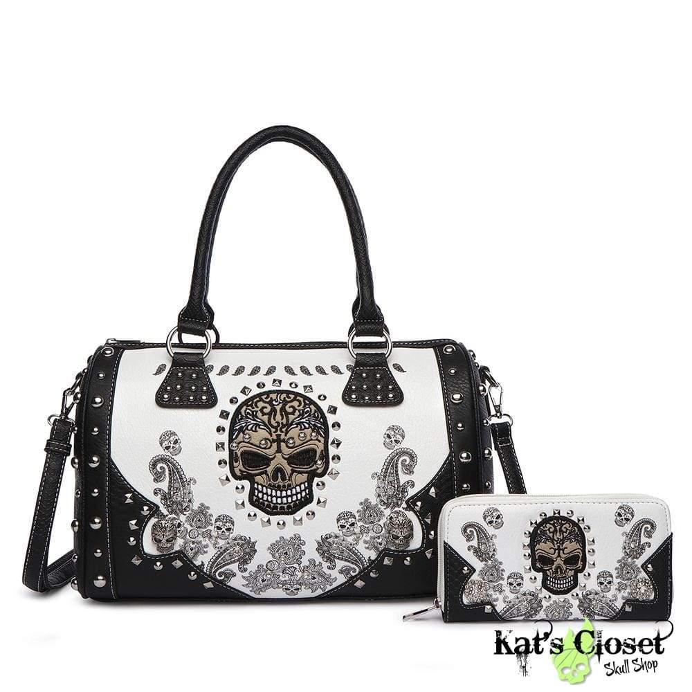 1ec2c00331f4 Paisley Skull Satchel & Wallet Set - Embroidered Skull & Silver ...