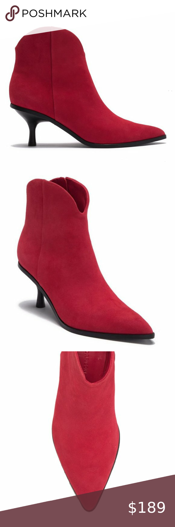 Sigerson Morrison Red Suede Kitten Heel Ankle Boot In 2020 Kitten Heel Ankle Boots Kitten Heels Heeled Ankle Boots