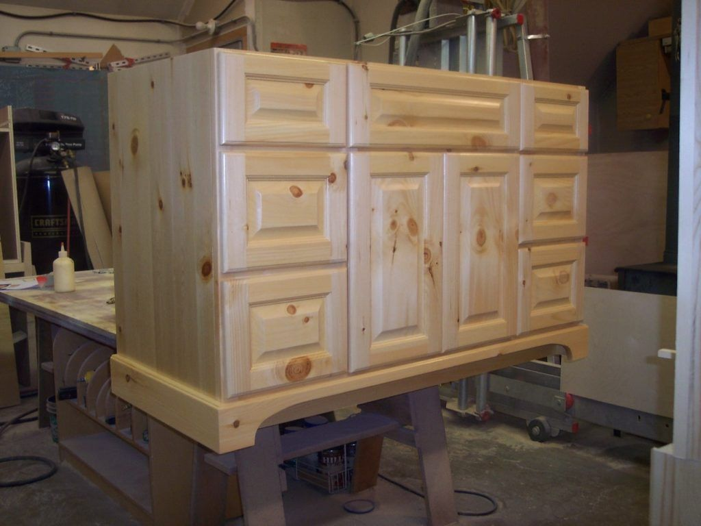 Unfinished Knotty Pine Bathroom Cabinets Classic Bathroom