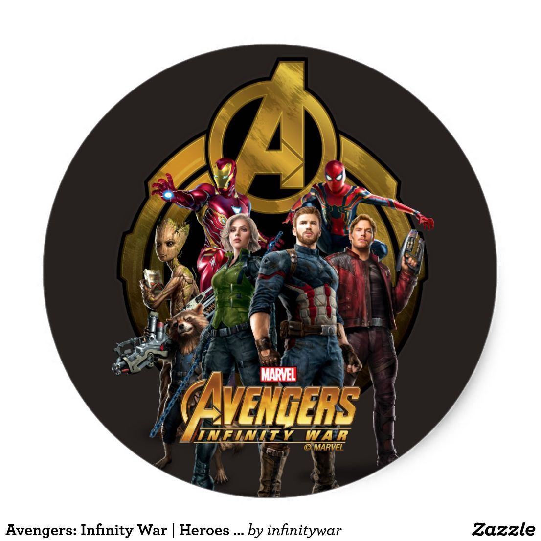 Avengers Infinity War Heroes Avengers Icon Classic Round Sticker Awesome Marvel Infinity War Merchandise To Perso Avengers Marvel Infinity War War Heroes