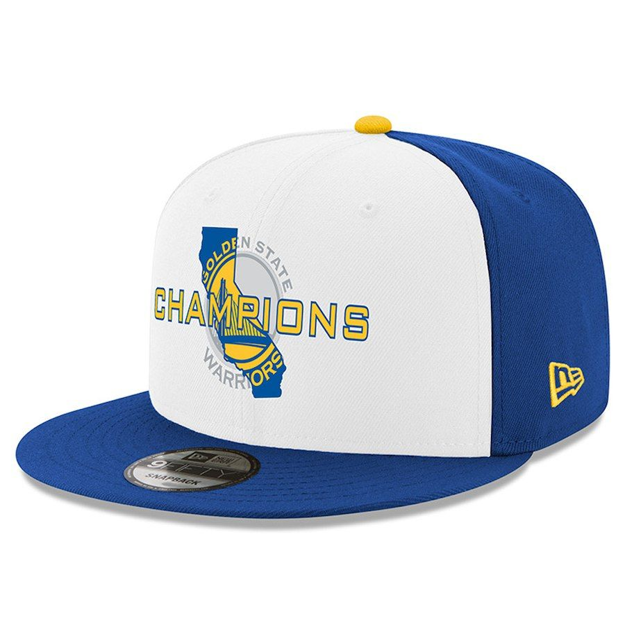 58dfd9a23de Men s Golden State Warriors New Era White Royal 2018 NBA Finals Champions  State 9FIFTY Snapback Adjustable Hat