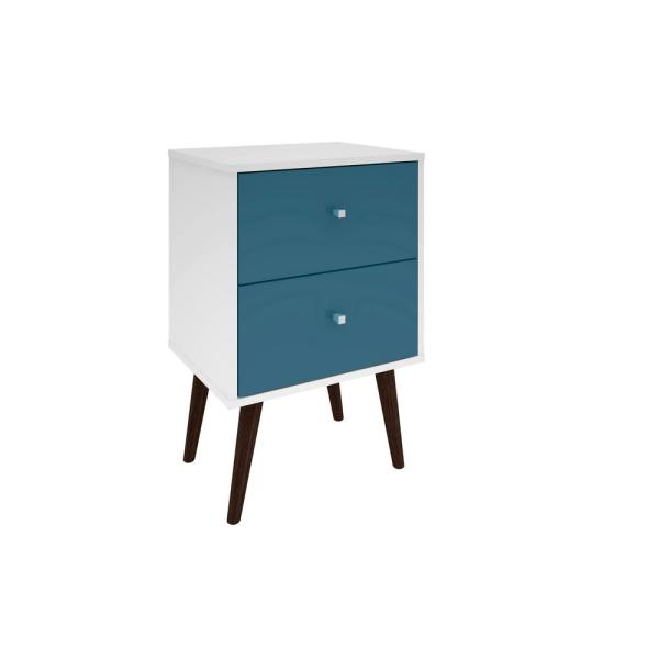 Manhattan Comfort Liberty Mid Century White And Aqua Blue Modern Nightstand 2 0 With 2 Full Extension Drawers With Solid Wood Legs 204amc64 The Home Depot Mid Century Modern Nightstand Modern Nightstand Blue Nightstands
