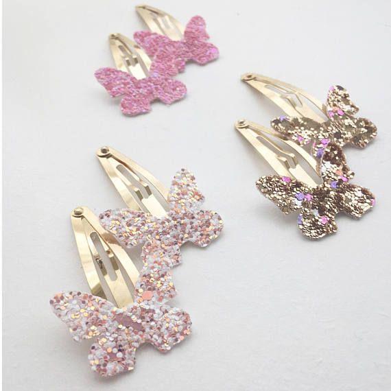 Glitter butterfly snap clip