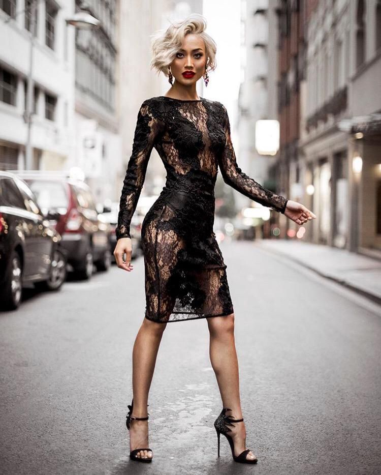 Micah Gianneli in lace embrace HOUSE OF CB dress and ...