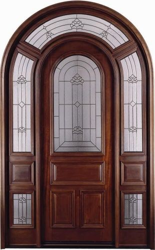 Arch Top W Surround Mahogany 1 2 Lite Solid Wood Entry Door Wood Doors Interior