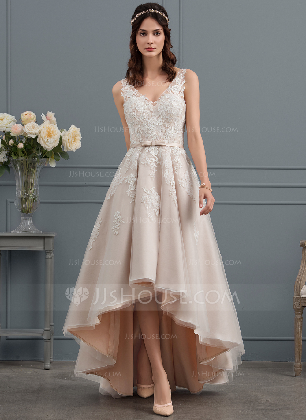164 00 A Line V Neck Asymmetrical Tulle Lace Wedding Dress With Bow S Jj S House Bow Wedding Dress Tea Length Wedding Dress Plus Wedding Dresses [ 1370 x 1000 Pixel ]