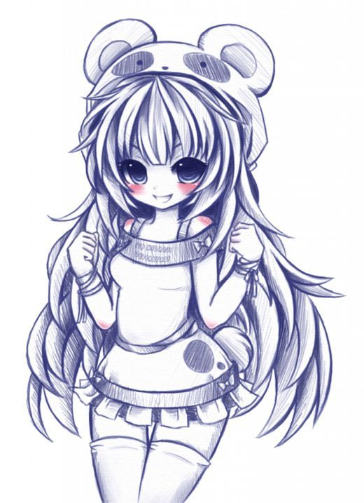 Panda Loving Girl Plg Panda Dessin Dessin Kawaii Dessin Chibi