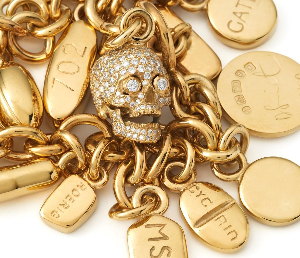 Damien Hirst 18 Carat Gold Charm Bracelet With A Diamond Skull And Variety Of Pills Embossed Their Ropriate Pharmaceutical Compound Number
