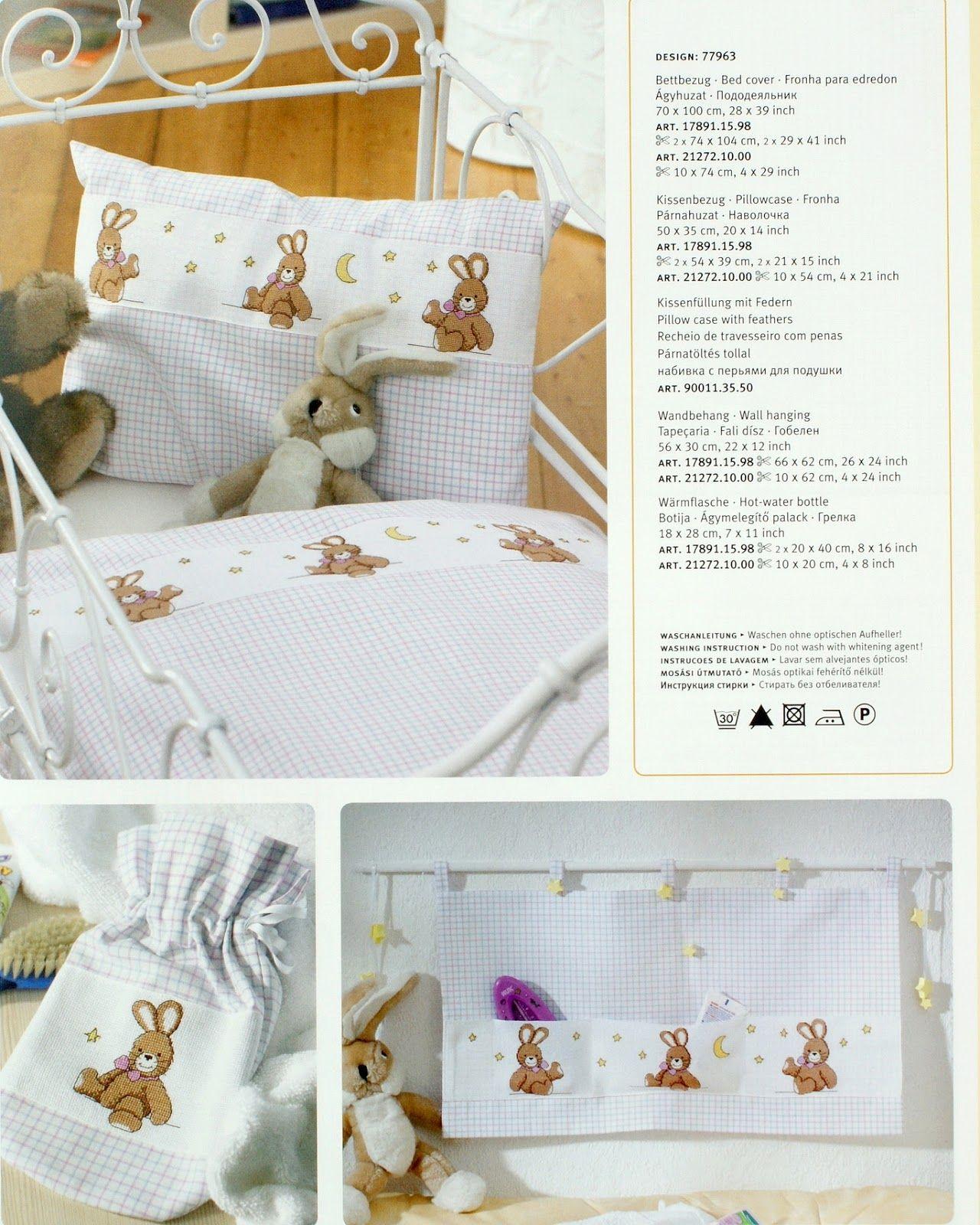 Punto croce schemi gratis e tutorial schema per corredino neonato con i coniglietti - Disegni punto croce per tovaglie da tavola ...