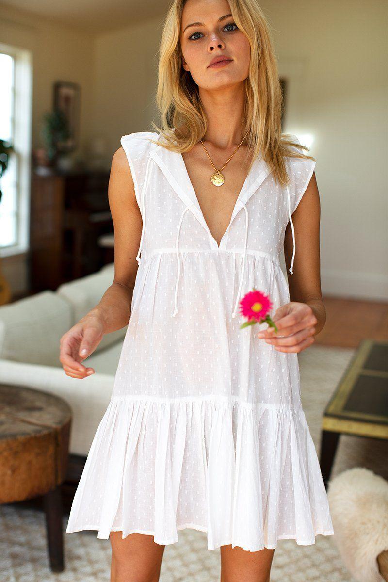 Angel Dress - White Swiss Dots