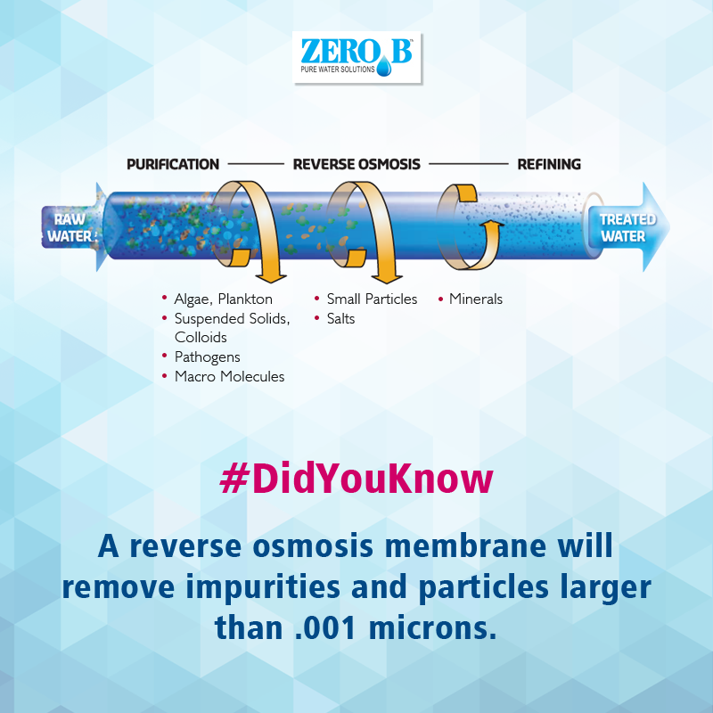 A Reverse Osmosis Membrane Will Remove Impurities And Particles Larger Than 001 Microns Reverse Osmosis With Images Reverse Osmosis