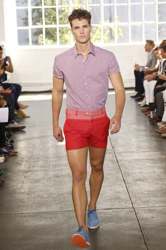 Men's Red and White Gingham Short Sleeve Shirt, Red Shorts, Blue ...