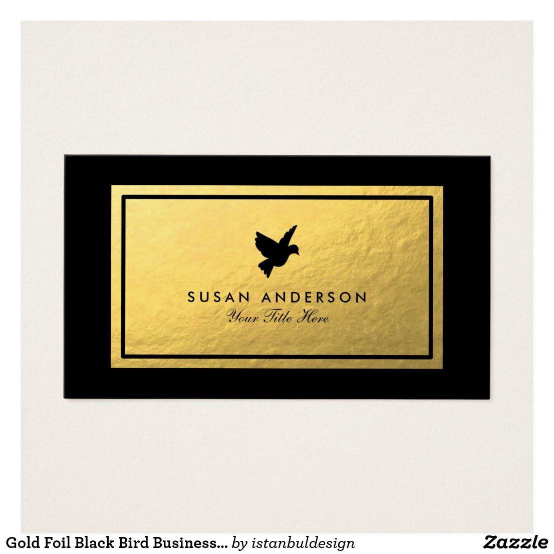 Gold Foil Black Bird Business Card   Business cards