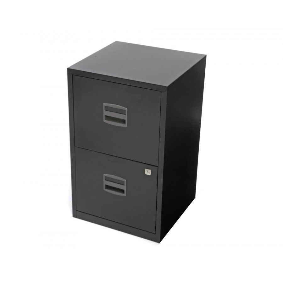 Black Metal Filing Cabinet Office 2 Drawer Lockable Furniture ...