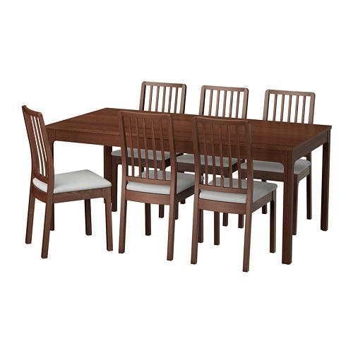 f80e47dc86 EKEDALEN / EKEDALEN Table and 6 chairs, brown, Orrsta light gray ...
