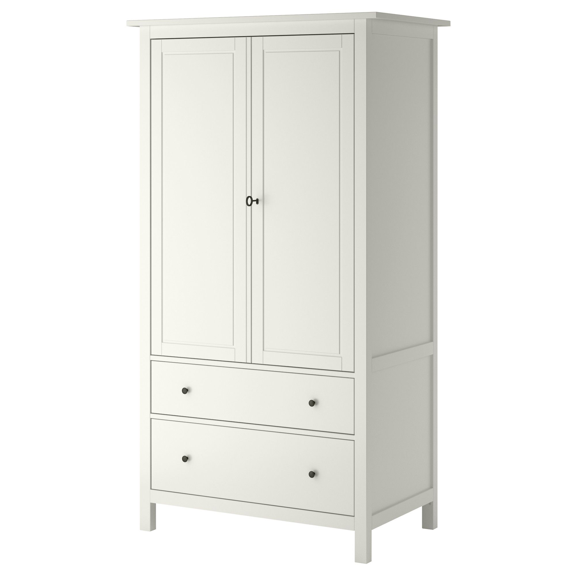 Kleiderschrank ikea hemnes  HEMNES white wardrobe with four adjustable shelves and two clothes ...