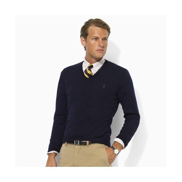 Polo ralph lauren · Slim-Fit Merino Wool V-Neck Sweater. Hunter Hunter Navy  ...