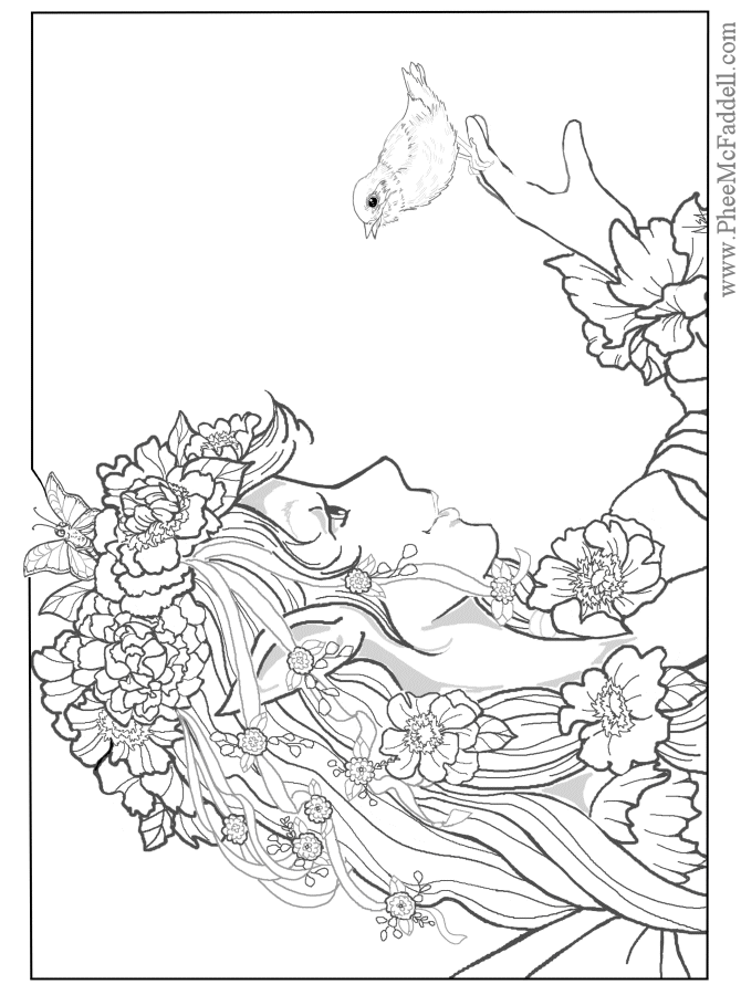 Fairy Coloring Pages For Adults | Designs Fairy & Mermaid Blog: Free ...