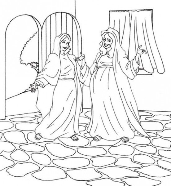 Mary Visits Elizabeth Luke 1 Sunday School Coloring Pages